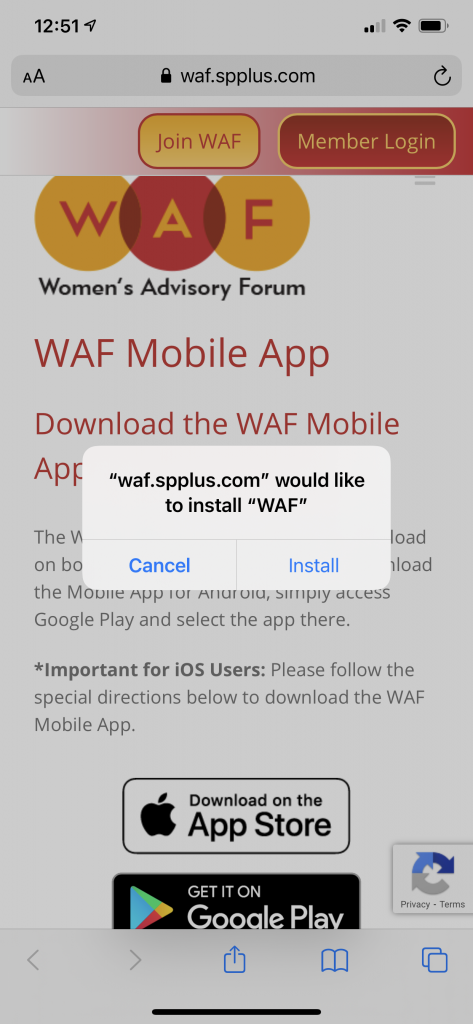 how to download WAF mobile app step 1